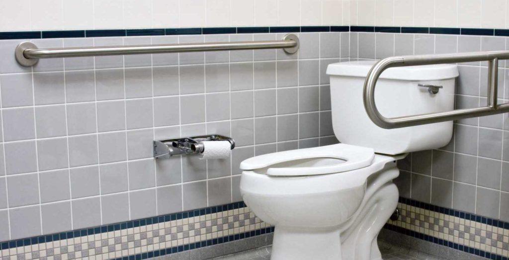 Toilette avec deux barres d'appui